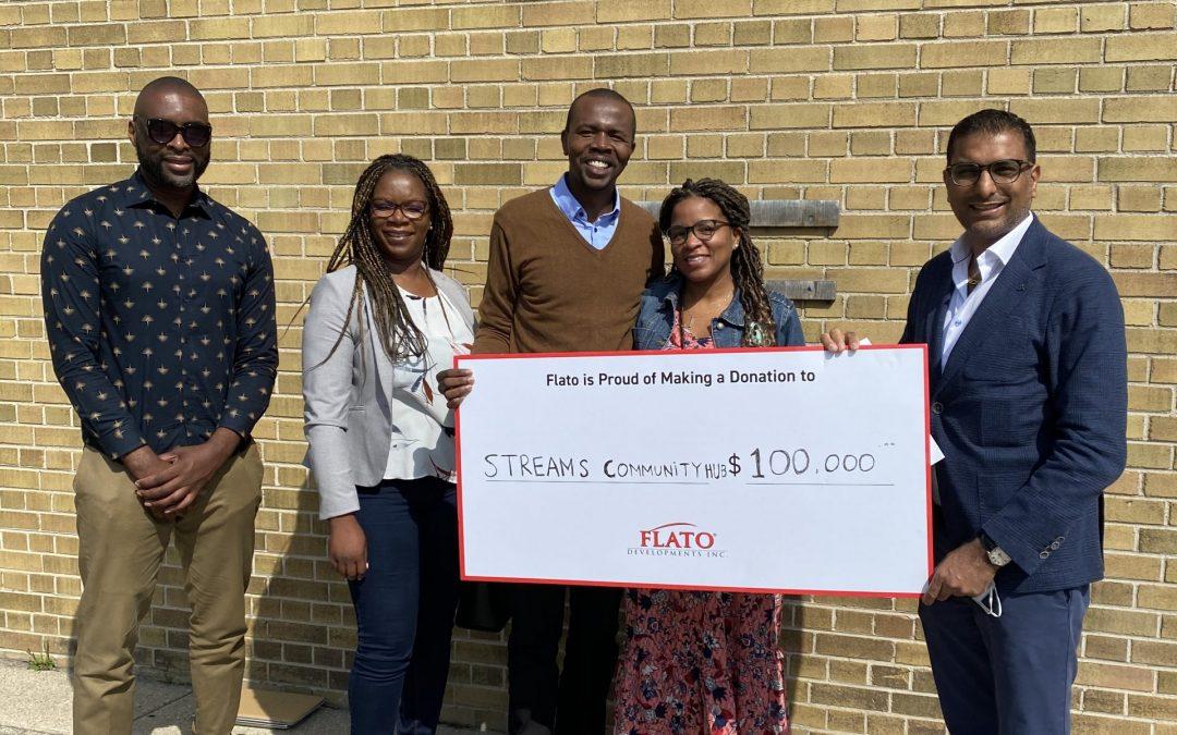 Streams Community Hub receives $100,000 donation from FLATO Developments Inc.
