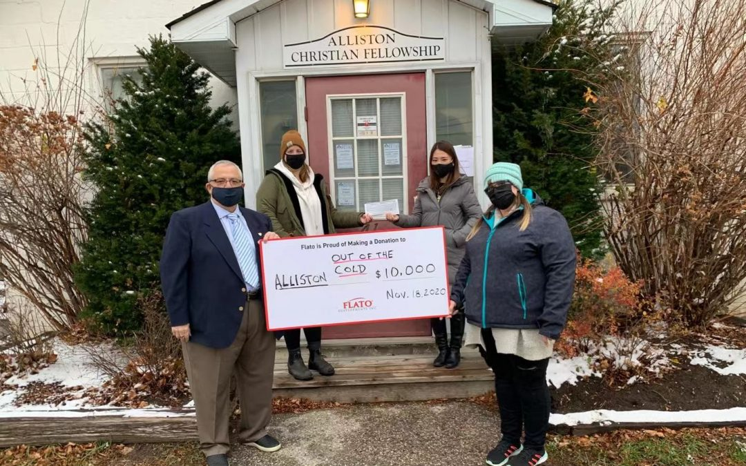 FLATO Developments donates $10,000 to Alliston Out of the Cold